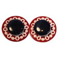 Red White Blue Patriotic Nautical Disc Earrings