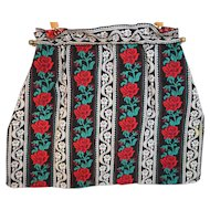 Red Roses Striped Tapestry Handbag Purse
