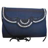 Black Chiffon Beaded Evening Bag Convertible Clutch
