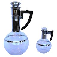 Inland Glass Carafe Carafette Pair Large Small Platinum Trim