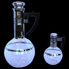Inland Glass Carafe Carafette Pair Large Small Platinum Trim