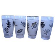 Libbey Silver Foliage Leaf Leaves 10 Oz Tumblers Set of 4