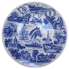 Kentucky Blue White Transferware Souvenir Plate