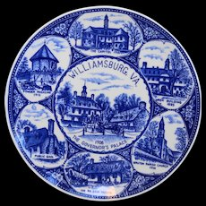Williamsburg Virginia Cobalt Blue Souvenir Plate Made in Japan