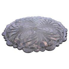 Cambridge Caprice Clear Cake Plate 4 Toed Scalloped Rim Elegant Glass