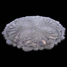 Cambridge Caprice Clear Cake Plate 4 Toed Scalloped Rim Elegant Glass