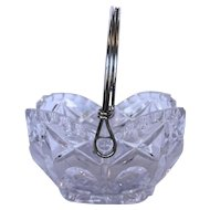 Cut Lead Crystal Basket Silver Plated Swivel Handle Scallops Circles