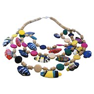 Bright Tropical Fish Carved Wood Necklace Triple Strand