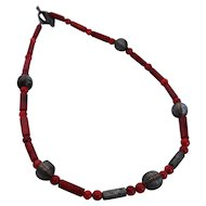 Mediterranean Coral Necklace Dark Red Silver Wire Hematite Beads