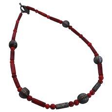 Mediterranean Coral Necklace Dark Red Silver Wire Hematite Beads