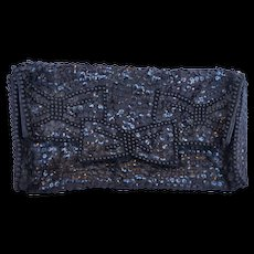 Black Sequins Satin Clutch Evening Bag 1960s