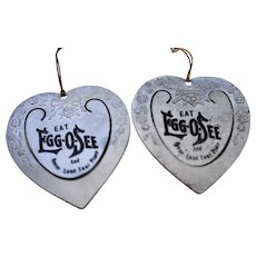 Eat Egg-O-See Cereal Stamped Heart Tin Bookmarks Pair