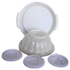 Tupperware Jel N Serve Sheer White Mold Set 1978