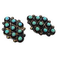 Native American Southwestern Sterling Turquoise Diamond Shape Clip Earrings