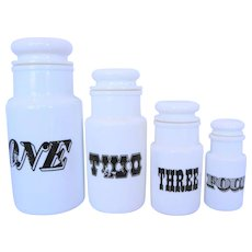 Milk Glass Canister Jar Set One Two Three Four Made in Italy