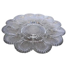 Daisy Sunflower Hobnail Deviled Egg Relish Plate Clear Glass