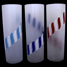 Libbey Frosted Candy Stripe Tumbler Glass Iced Tea Tom Collins Set of Three Red Blue