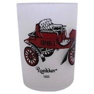 Hazel Atlas Frosted Shot Glass Antique Auto Rambler 1903