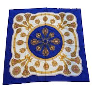 Glentex Royal Blue Acrylic Challis Scarf Gold Baroque Jewels Print
