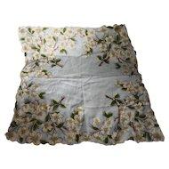 Dogwood White Floral Light Blue Scalloped Ladies' Handkerchief