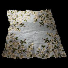 Dogwood White Floral Light Blue Scalloped Ladies' Handkerchief