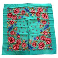 Green Pink Roses Multi Floral Print Square Scarf Made in Italy 30 IN