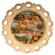 Boot Hill Dodge City Souvenir Decorated White Milk Glass Lace Edge Salad Plate Anchor Hocking