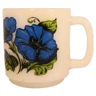 Glasbake Morning Glory Language of Flowers Milk Glass Mug