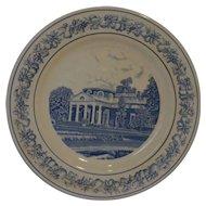 Spode Copeland Monticello Souvenir Plate Blue Transferware
