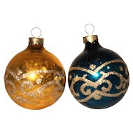Blue Gold Silver Glitter Swirl Glass Ball Christmas Ornaments Pair