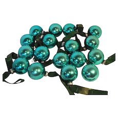 Shiny Brite Turquoise Blue Small Ball Ornaments Set of 17