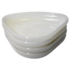 Anchor Hocking Ivory White Glass Lazy Susan Wedge Inserts Set of 4