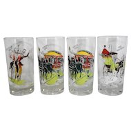 Gay Nineties Anchor Hocking Tumblers Set of 4
