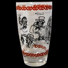Personal Drink Glass Red Black White Decorated Name Label Characters