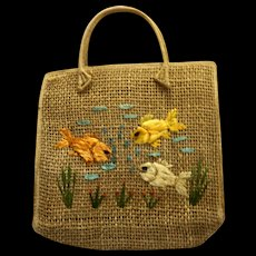 Cabana Made in the Philippines Straw Raffia Fish Tote Shopping Bag Purse