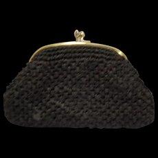 Black Raffia Clutch Purse Large Kiss Clasp Made in Japan