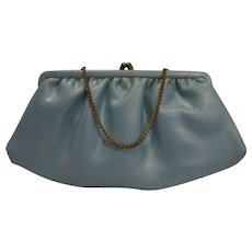 Baby Blue Aqua Pearlescent Leather Formal Clutch Purse