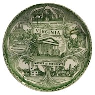Virginia Green Transferware Souvenir Plate Mother of Presidents Mt Vernon Monticello