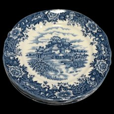 English Village Blue Salem China Staffordshire England Dinner Plates Set of 5