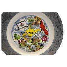 West Virginia Souvenir Plate Colorful Scenes Grey Rim Gold Floral