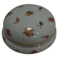 Porcelain Round Powder Dresser Trinket Box Hand Painted Flowers Gold Trim