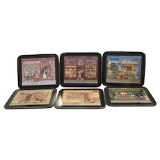Pimpernel Coasters Set of 6 Old Fashioned Main Street Scenes