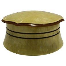 Laurelton Amerith Yellow Pearlized Celluloid 1930s Dresser Jar Powder Box