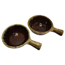 Western Stoneware Monmouth Pottery Brown Drip Handled Soup Bowls Ramekins French Custards