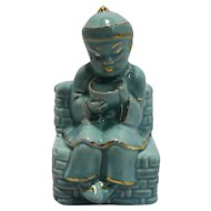 Chinese Asian Boy Child Figural Planter Turquoise Glazed Pottery Gold Accents
