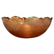 Jeannette Glass Crackle Marigold Carnival Depression Glass Berry Bowl 7 IN
