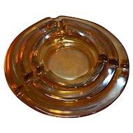 Marigold Carnival Depression Glass Nesting Ashtrays Pair