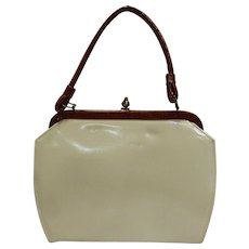 Cream Beige Patent Faux Leather Purse Brown Handle Trim