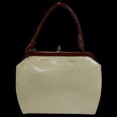 Cream Beige Patent Faux Leather Purse Brown Handle Trim