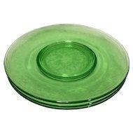 Hazel Atlas Cloverleaf Green Luncheon Lunch Plates 8 In Set of 3 Depression Glass